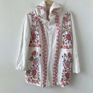Soft Surroundings white embroidered hooded sweater
